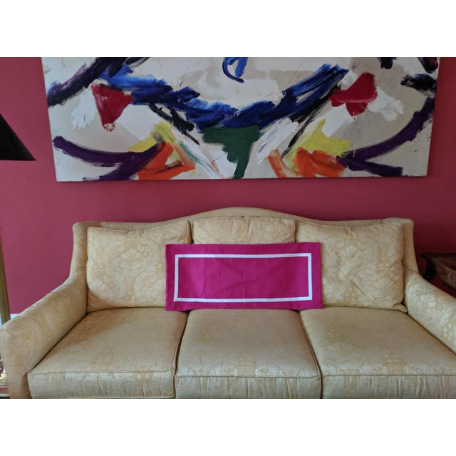 2010s Custom Magenta Pink Linen Pillow Cover For Sale - Image 5 of 12