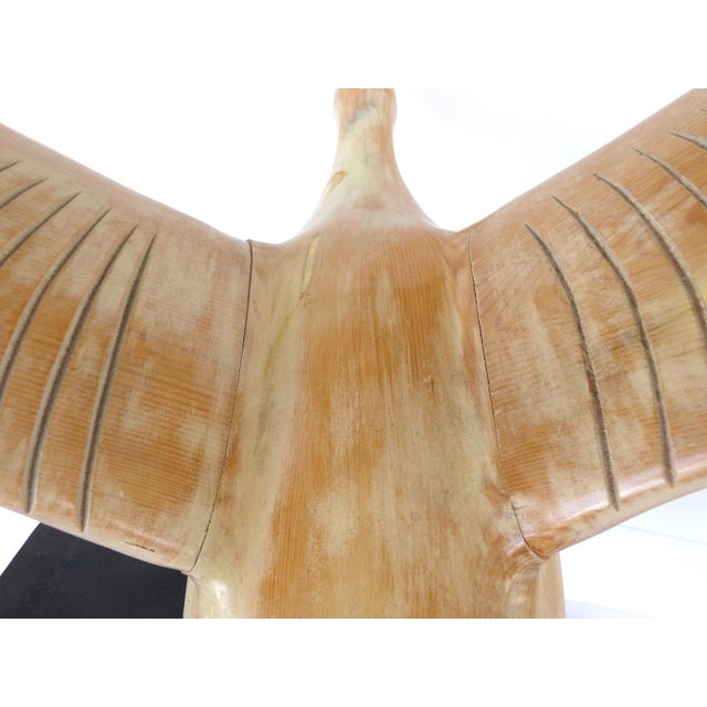 Vintage Life-Size Carved Wood Duck /Goose Sculpture in Flight For Sale - Image 9 of 11
