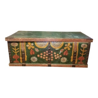 19th Century Folk Art Hand Painted Floral Design Blanket Chest For Sale