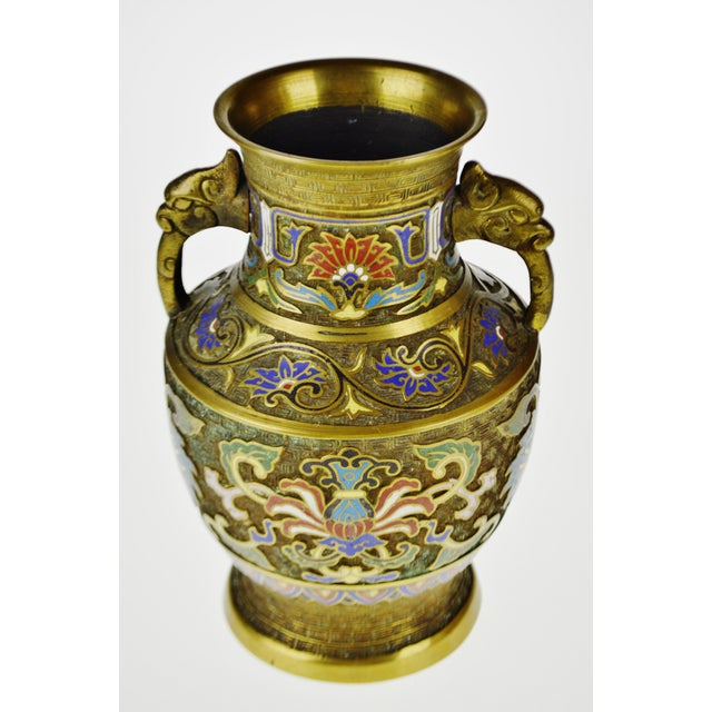 Vintage Japanese Brass Champleve Urn Shaped Vase with Figural Handles For Sale - Image 11 of 11