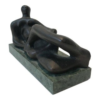 "1971 Henry Moore ""Reclining Figure"" Gold Leaf Sculpture For Sale"
