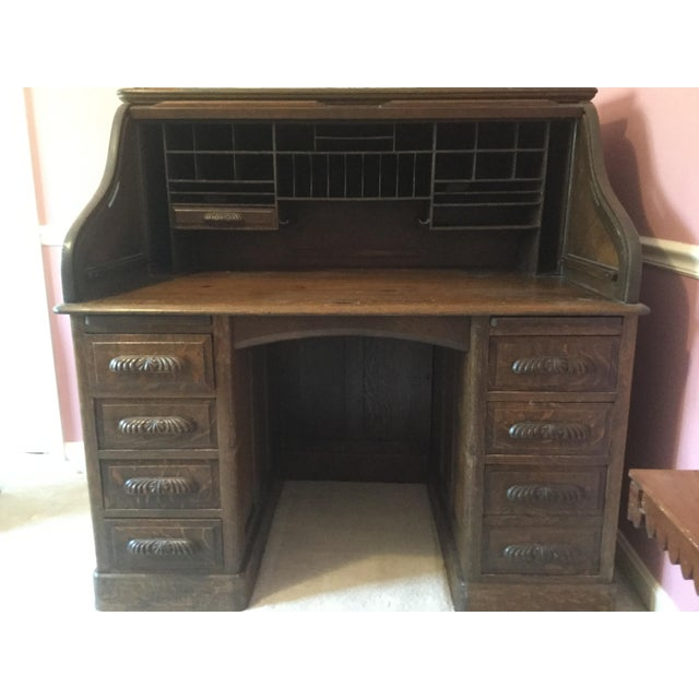 19th Century American Classical RollTop Desk For Sale - Image 4 of 8