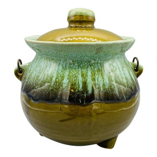 Vintage Hull Green Drip Glaze Bean Pot or Cookie Jar For Sale