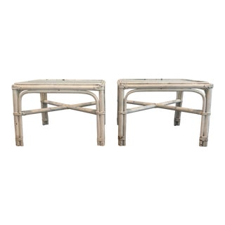 1960s Vintage Bamboo Cocktail Tables - A Pair For Sale