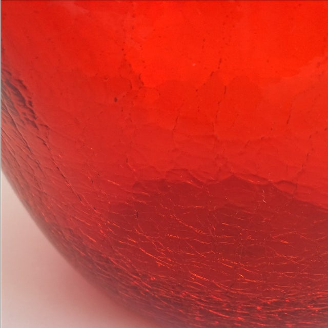 Vintage Red Blenko Crackle Glass Vase - Image 7 of 11