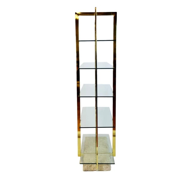 Brass Etagere With Faux Tesselated Marble Base - Image 4 of 5