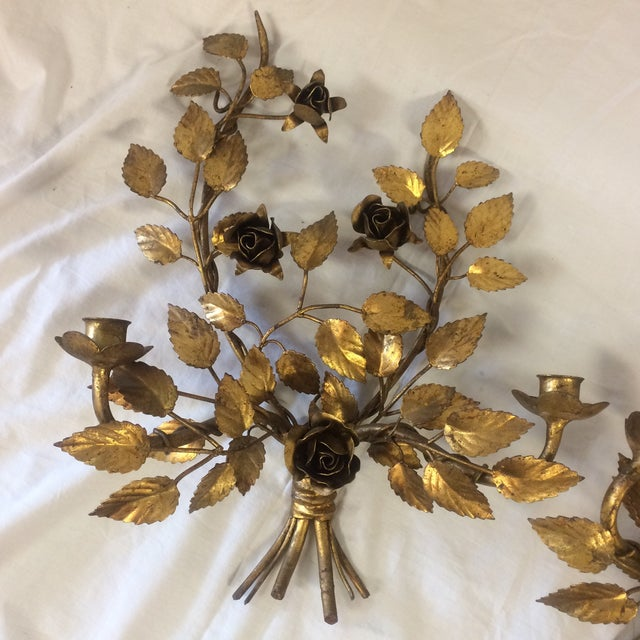 Vintage Gilded Metal Tole Candle Sconces - a Pair For Sale - Image 7 of 11