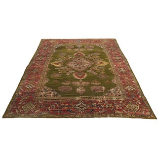 20th Century Turkish Coral and Apple Green Oushak Rug For Sale