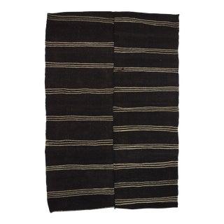 "Vintage Black White Striped Kilim Rug - 6'11"" x 10'4"" For Sale"
