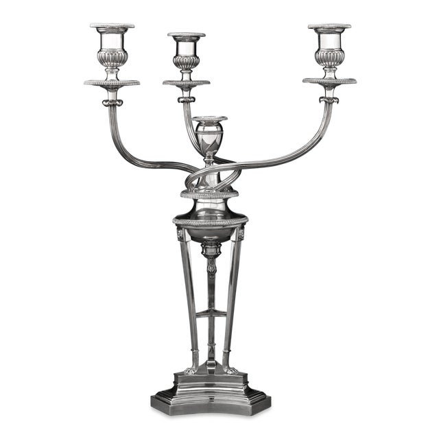 This remarkable Sheffield silver plate candelabrum by celebrated English silversmith Matthew Boulton displays all of the...