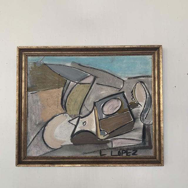 1980s Framed Charcoal Abstract Drawing For Sale - Image 12 of 13