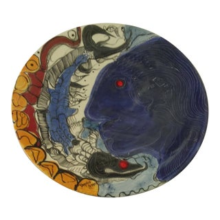 Dopiro Lerner Cuban Hand-Painted Charger For Sale