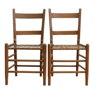 19th C Vintage Rustic Primitive Rawhide Woven Chair - A Pair