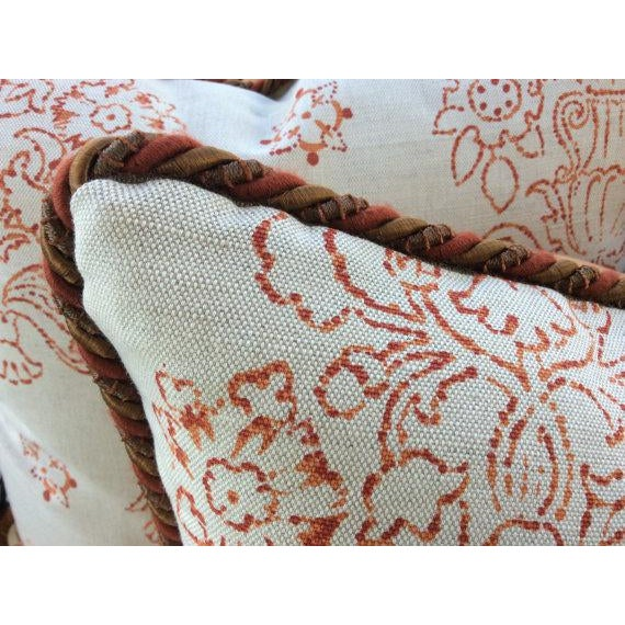 Contemporary Victoria Hagan Pillows in Marianne Pumpkin Abstract Linen - a Pair For Sale - Image 3 of 4