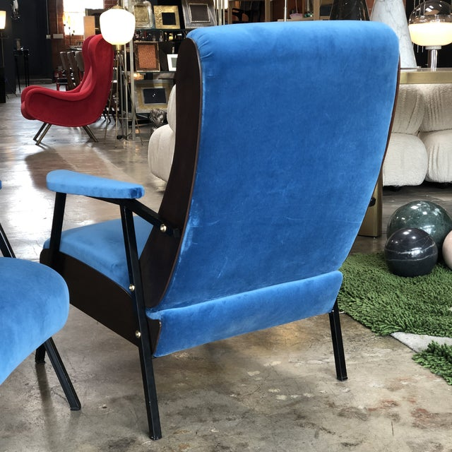 1950s Lounge Armchairs in Wood and Blue Suede, Italy 1950s - a Pair For Sale - Image 5 of 11