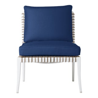 Delta Beta Armless Chair in Pacific Blue For Sale