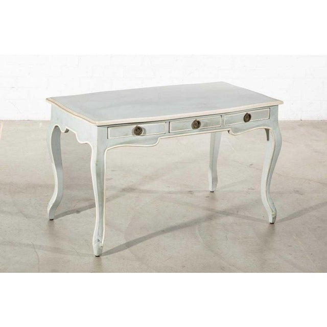 Mid-Century Modern Vintage Swedish Gustavian Style Painted Writing or Dressing Vanity Table For Sale - Image 3 of 3
