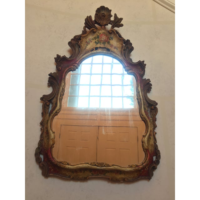 Gold Antique Venetian Hand-Painted Wooden Mirror For Sale - Image 8 of 8