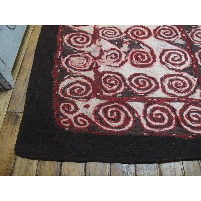 Red Central Asian Felt Carpet For Sale - Image 8 of 9