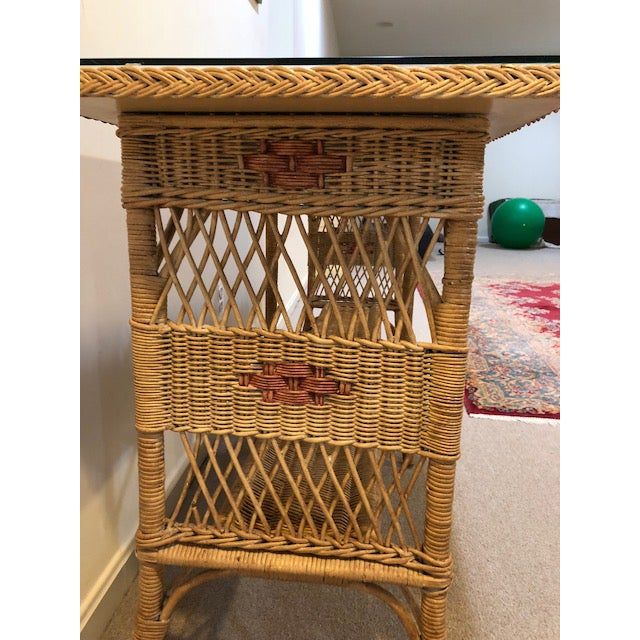 Glass 1950s Vintage Wicker Console Table For Sale - Image 7 of 9