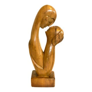 Vintage Pine Hand Carved Statue of Lovers For Sale