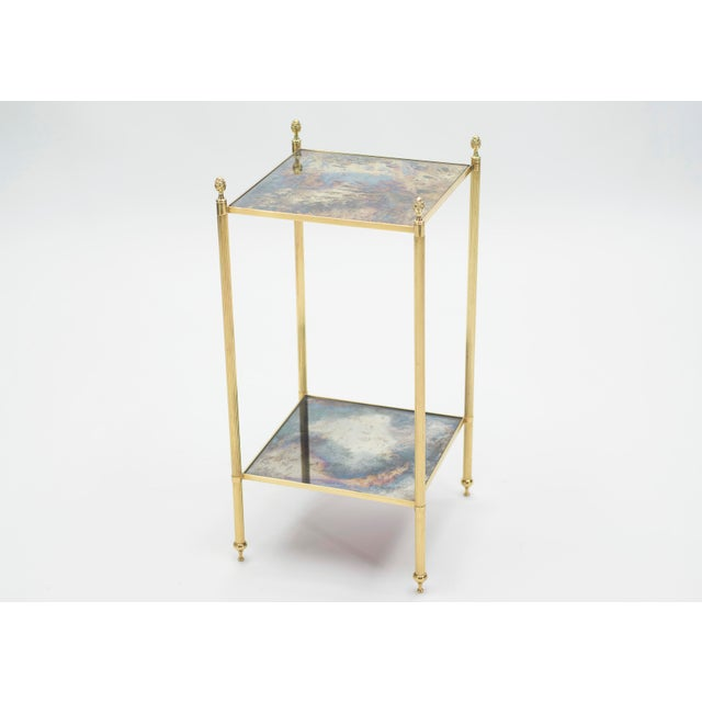 Pair of French Maison Jansen Brass Mirrored Two-Tier End Tables 1960s For Sale - Image 12 of 13