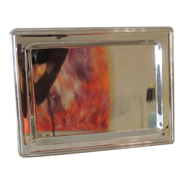 Ralph Lauren Polished Chrome Butler's Serving Tray For Sale