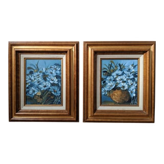 20th Century Oil Paintings of Blue Flowers by Martha S. M. Wills - Set of 2 For Sale