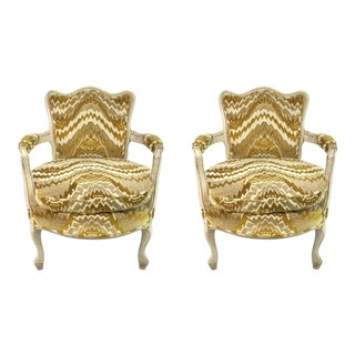 Vintage French Gold Cut Velvet Slipper Chair Pair For Sale