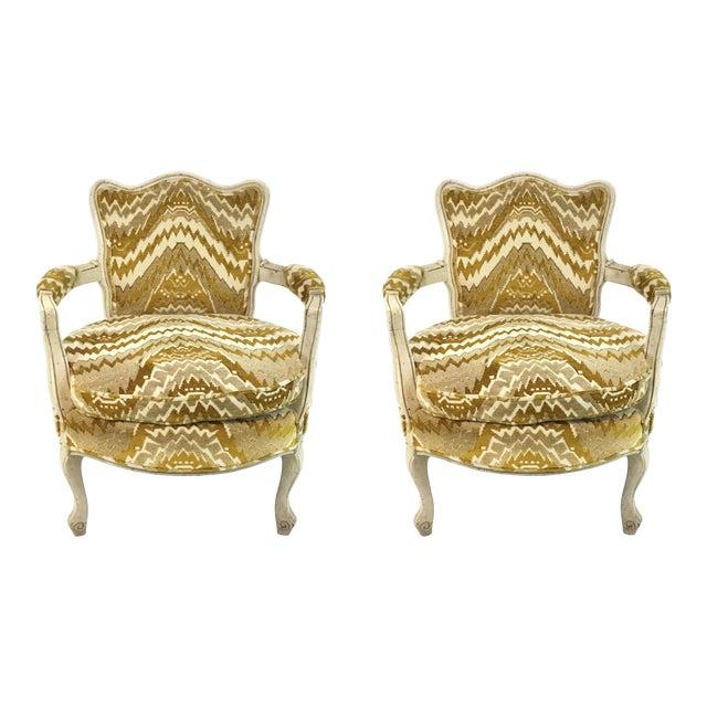 Vintage French Gold Cut Velvet Slipper Chair Pair For Sale