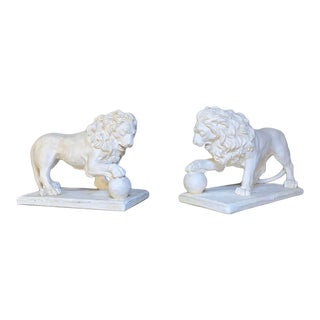 Classical Old Plaster Lion Figures - a Pair For Sale