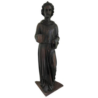 Large 17th Century French Carved Pinewood Angel Statue For Sale