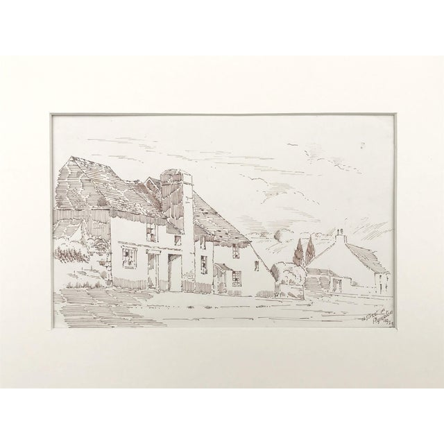 """Antique english pen & ink drawing of a cottage lined street. Titled """"A Street in Plympton"""" and dated 1923 lower right...."""