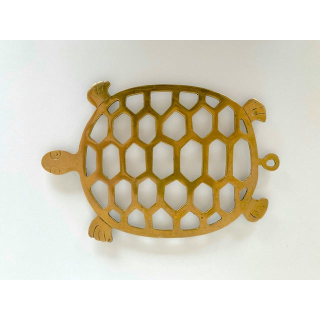 Mid-Century Modern Vintage 1970s Brass Turtle Trivet For Sale - Image 3 of 6