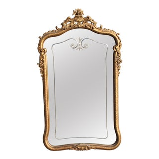 Late 19th Century Antique Louis XV Style Giltwood/ Gesso Carved Mirror For Sale