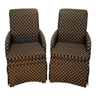 1980s Vintage High Roll Back Skirted Black and Gold Chairs - a Pair For Sale