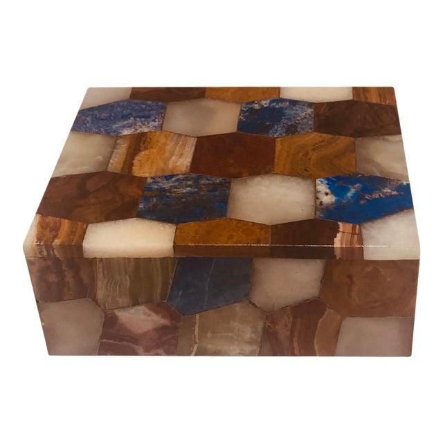 Antique Russian Hexagonal Precious Stones Box For Sale