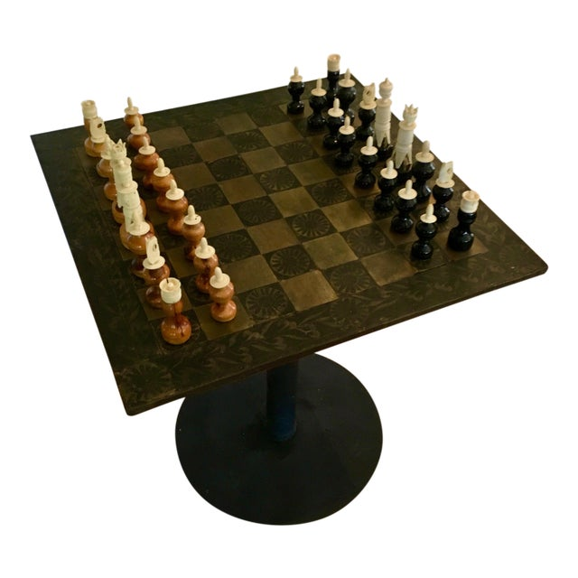 Metal Mexaican Chess Board Table With Hand-Carved Wooden Chess Men For Sale