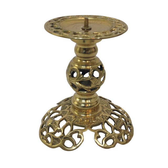Ornate Brass Filigree Candlestick - Image 1 of 3