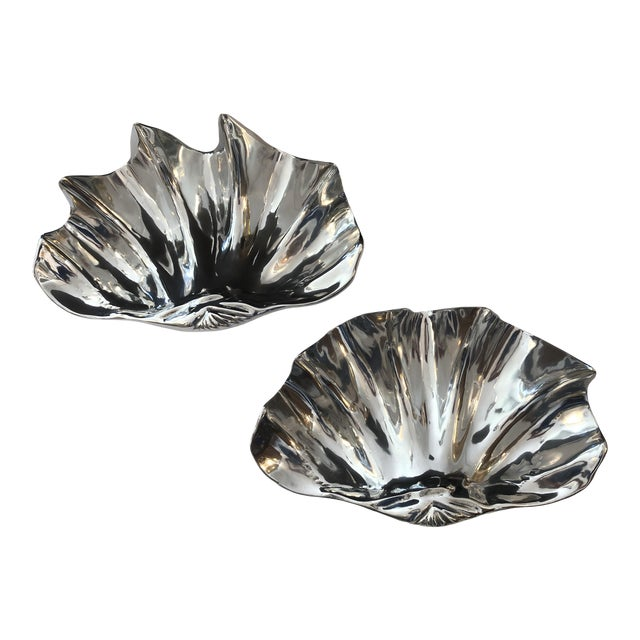 Fabulous Large Recently Polished Clam Shells Signed, A- Pair For Sale