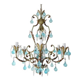 1920s French Green and Aqua Blue Murano Drops Crystal Prisms Chandelier For Sale