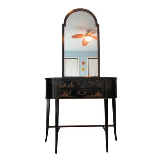 Black Lacquered Hall Cabinet and Mirror For Sale