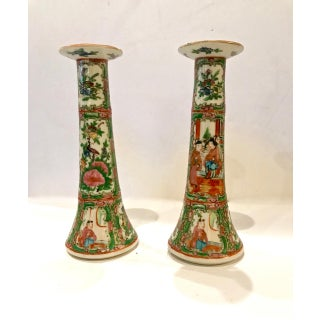 Chinese Export Rose Canton Candlesticks C. 1885-1900 - a Pair Preview