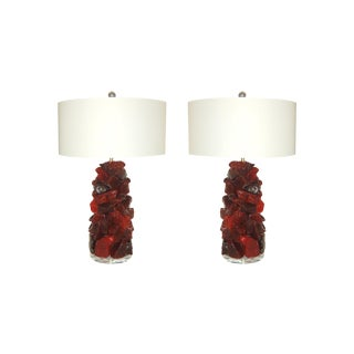 Glass Rock Table Lamps by Swank Lighting Cherry Red For Sale