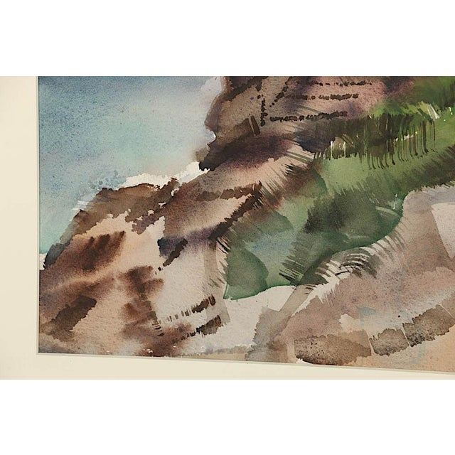 Watercolor Original Vintage Mid 20th C. Modern Watercolor-Carl Zimmerman-Coastal View For Sale - Image 7 of 9