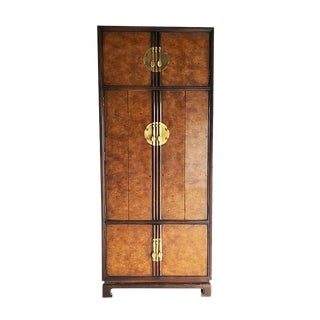 Tall Brown Burl Wood Folding Door Armoire Wardrobe Cabinet With Chinoiserie Brass Hardware Curvy Legs Drexel For Sale