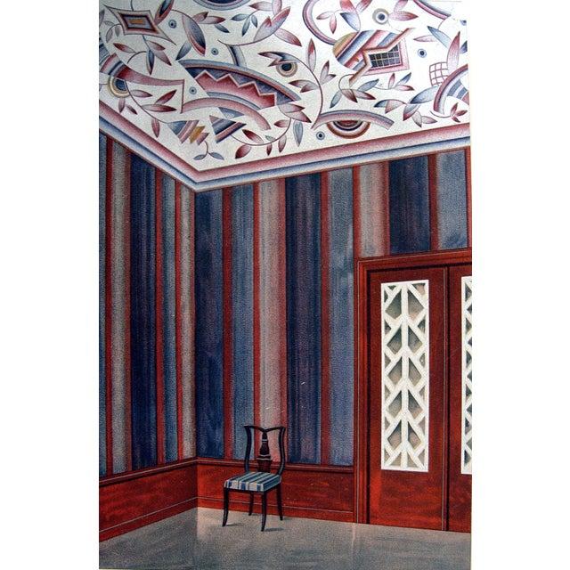 Antique 1929 Art Deco Interior Pochoir Print For Sale