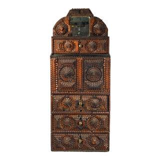 Folk Art American Tramp Art Cabinet For Sale