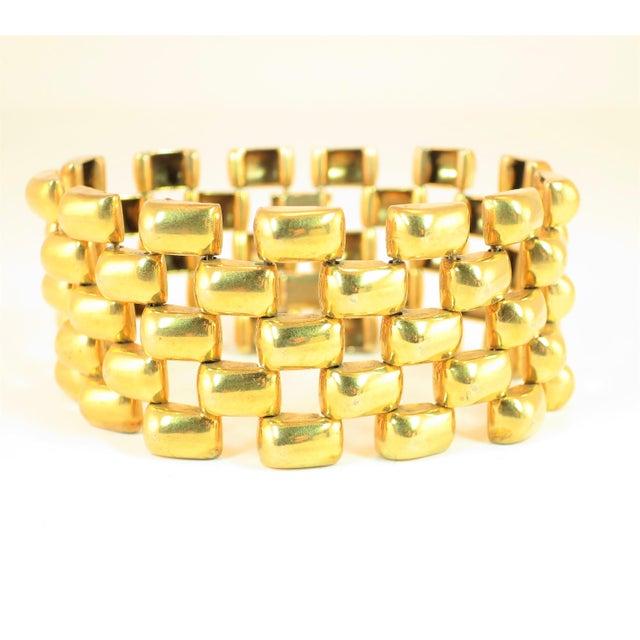 Metal Mid-Century Kreisler Geometric Open-Link Vermeil Bracelet 1940s For Sale - Image 7 of 13