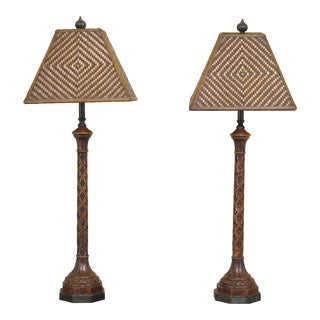 Carved Oak Lamps with Bronze Bases & Leather Shade - A Pair